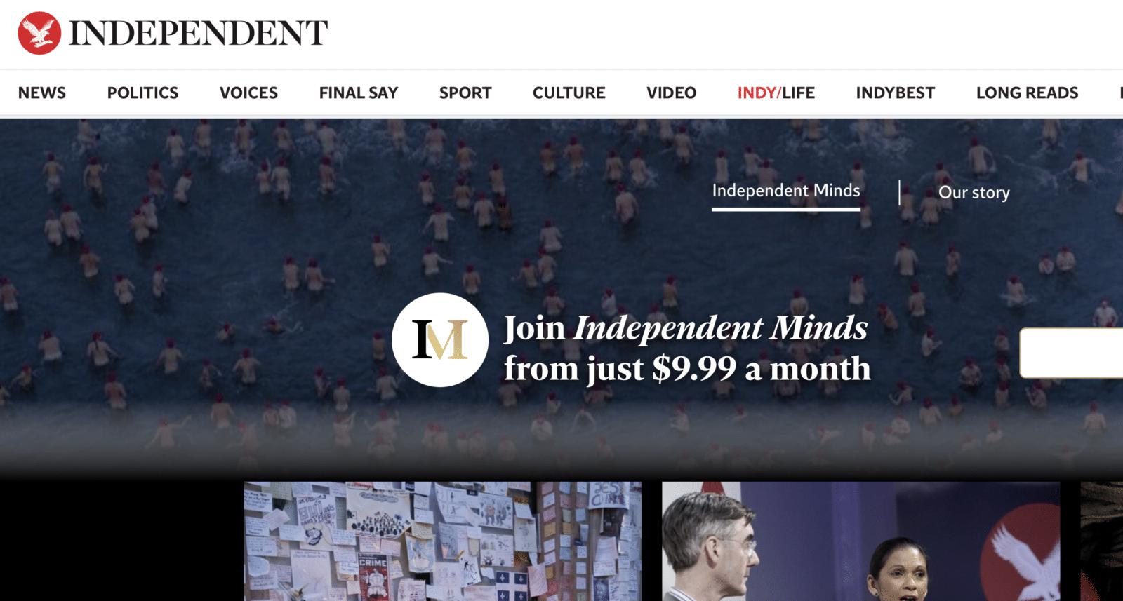 The Independent เริ่มหันมาหารายได้จากโมเดล Subscription แล้ว
