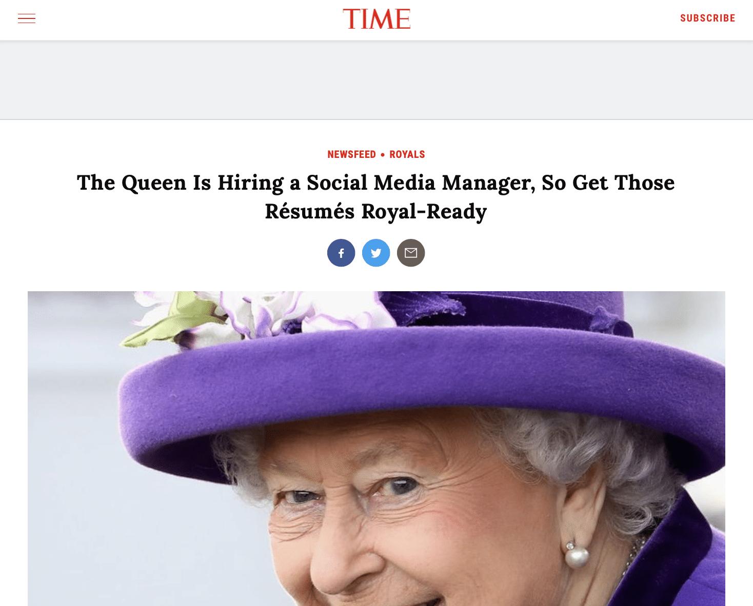 พระราชินีต้องการคนช่วยเล่น Social Media เงินเดือนเดือนละแสน