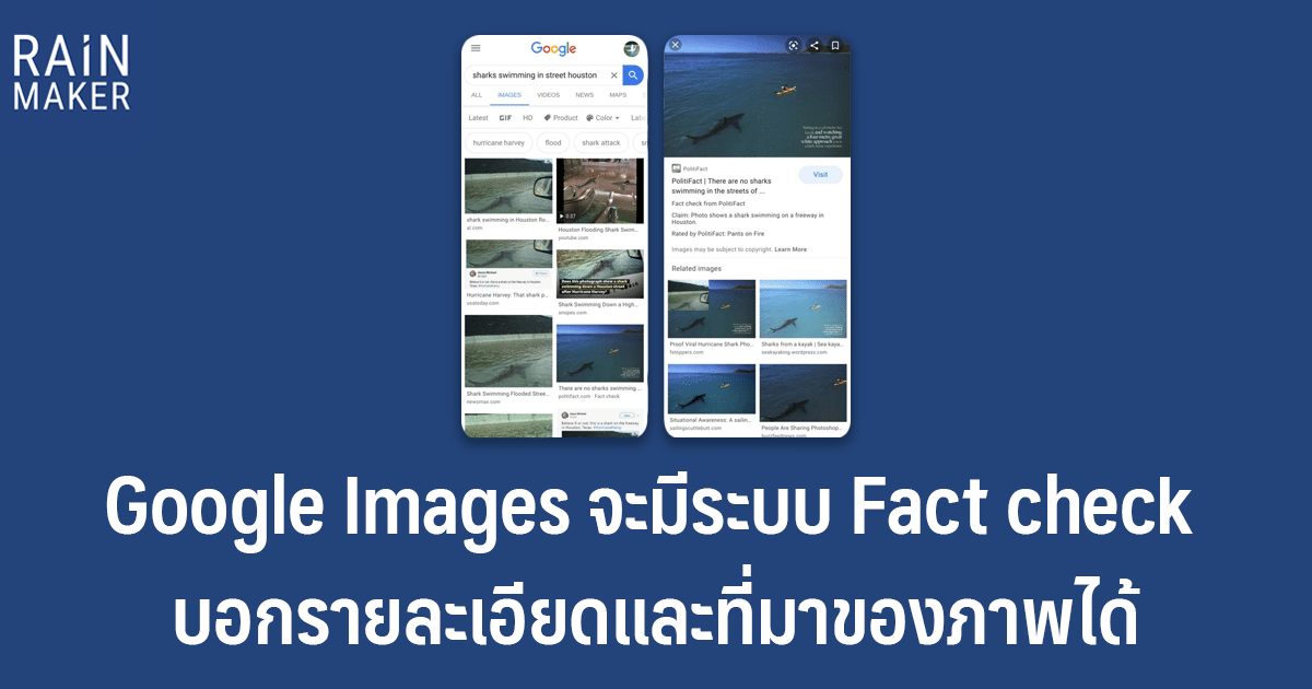 Google Images จะมีระบบ Fact check บอกรายละเอียดและที่มาของภาพได้